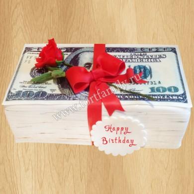 Торт в виде пачки долларов