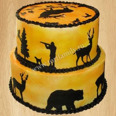 Торт охотнику с лосем и медведем