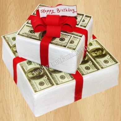 Торт в виде денег