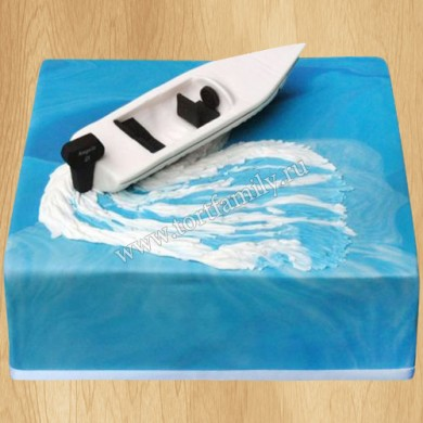 Торт моторная лодка