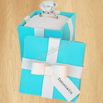 Торт коробочка Тиффани с кольцом