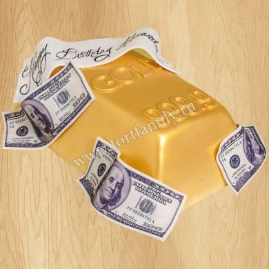 Торт золотой слиток