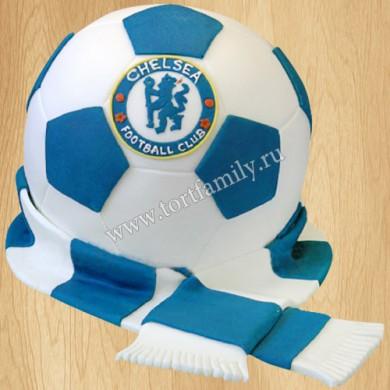 Торт мяч и шарф Челси