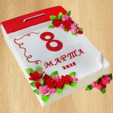 Торт в виде календаря на 8 марта