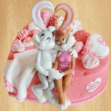 Свадебный торт с фигурками зайцев
