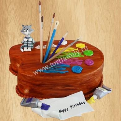 Торт в виде палитры красок
