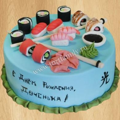Торт в виде суши и роллов