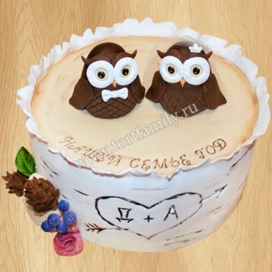 Торт с совами на первую годовщину свадьбы