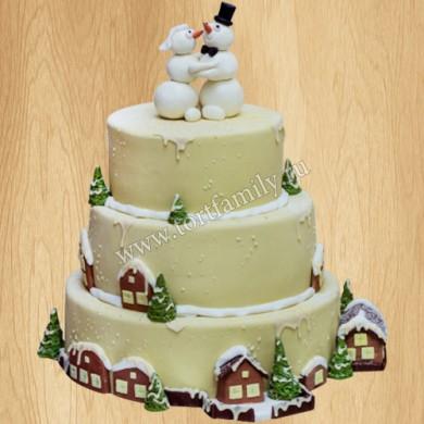 Торт трехъярусный со снеговиками на свадьбу