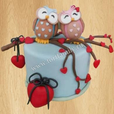Торт с совами на свадьбу