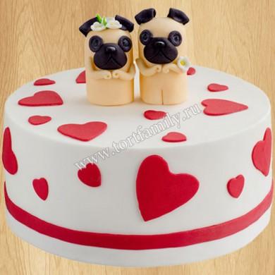 Свадебный торт с мопсами