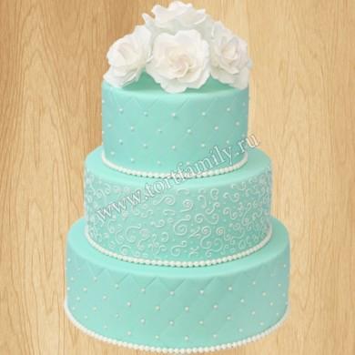 Свадебный торт Тиффани с кружевом и цветами