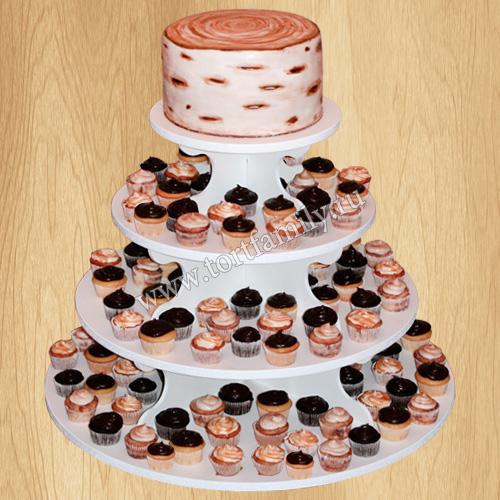 Свадебный торт с капкейками в стиле Рустик