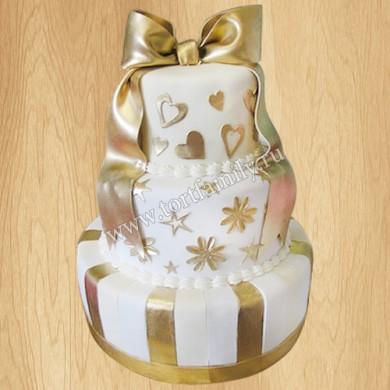 Торт трехъярусный на золотую свадьбу