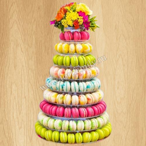 Торт в виде башни из macarons
