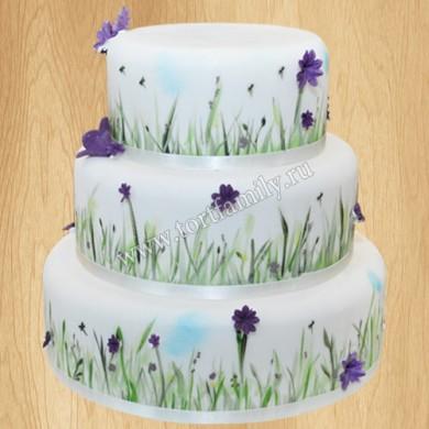 Торт с цветками незабудки