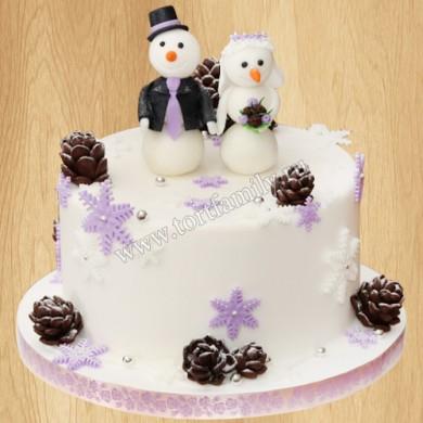 Торт со снеговиками на свадьбу